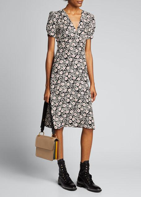 Paula Floral Deep V-Neck Dress
