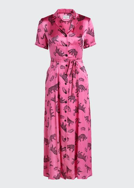 Maria Long Button-Down Pajama Dress w/ Belt