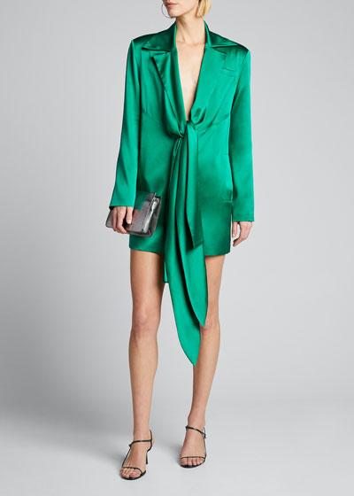 Silk Blazer Dress with Scarf