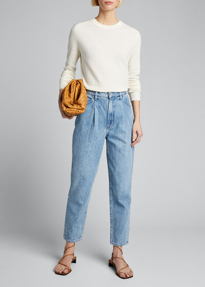 Pleated-Front Tapered Jeans