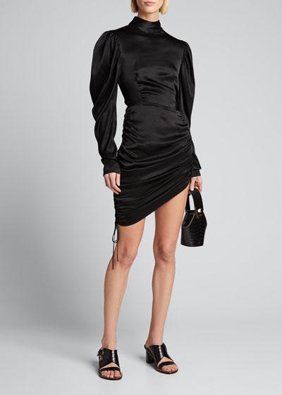 Satin Draped Mini Dress