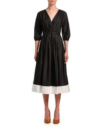 Pleated 3/4-Sleeve Poplin Midi Dress