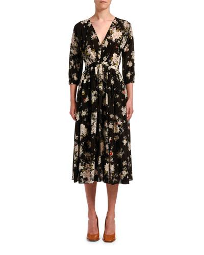 Floral-Print V-Neck Silk Midi Dress