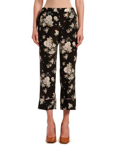 Floral-Print Silk Croppe Pants