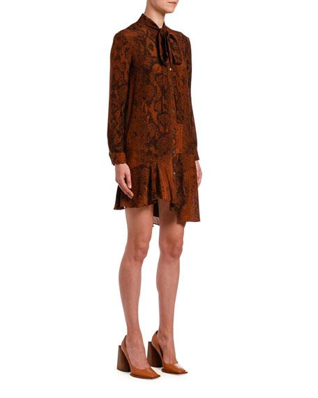 Snake-Print Tie-Neck Asymmetrical Short Dress