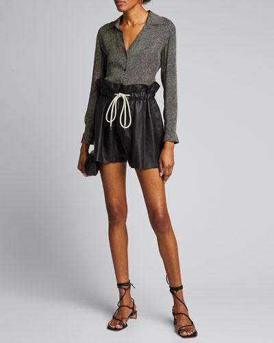 Nina Long-Sleeve Button-Down Zebra Silk Blouse