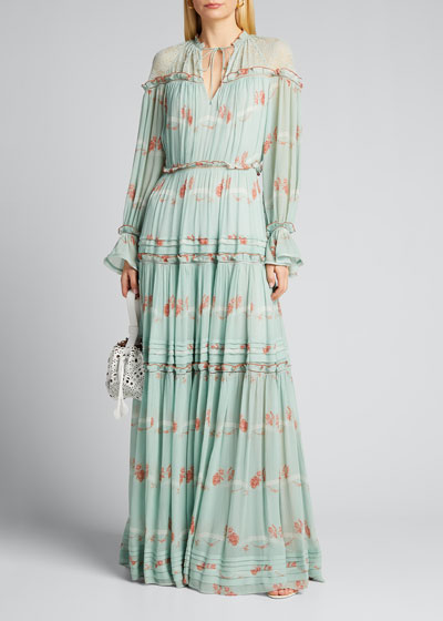 Cristina Rose Print Silk Chiffon Maxi Dress