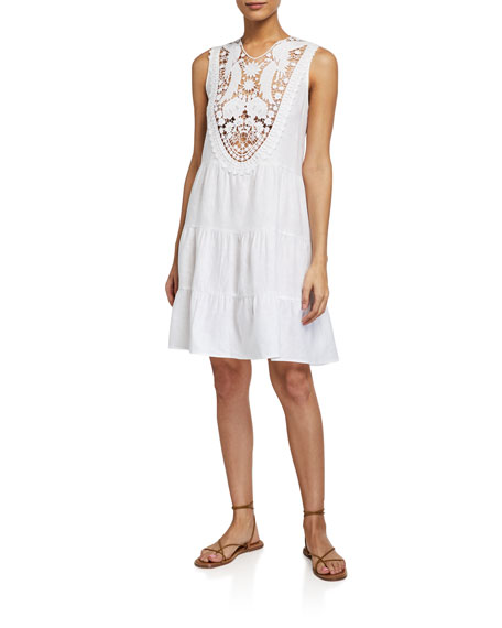 Image 1 of 1: Luce Sleeveless Dress w/ Embroidered Lace