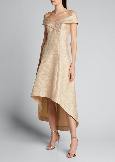 Cuffed Off-the-Shoulder High-Low Jacquard Gown