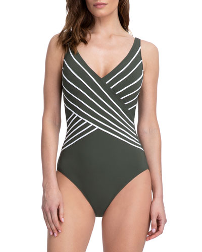 Embrace Striped Surplice One-Piece Swimsuit