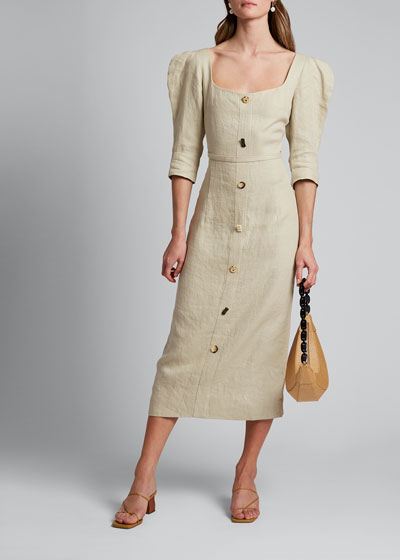 Leonie Strong-Shoulder Midi Dress