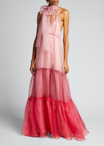 Veronique Tiered Organza Colorblock Gown