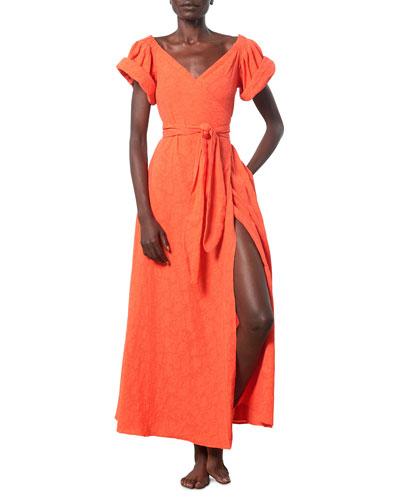 Adelina Short-Sleeve Wrap Coverup Dress