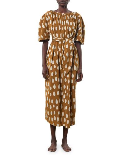 Aliz Printed Tie-Waist Dress
