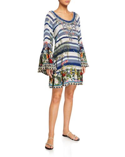 A-Line Frill Long-Sleeve Dress