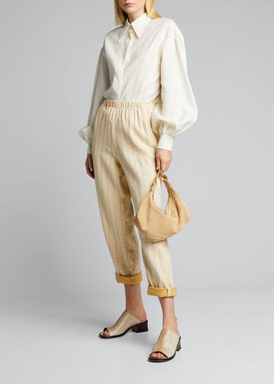 Pinstriped Cotton Linen Elastic Pants