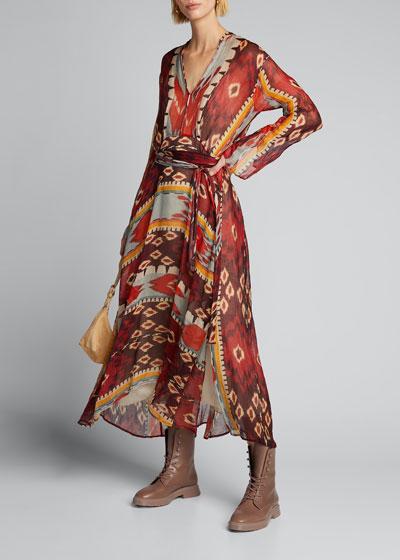 Encens Printed Slubbed Voile Dress