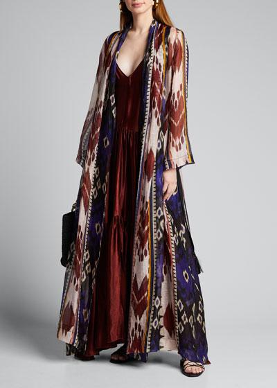 Encens Printed Slub Voile Long Kimono
