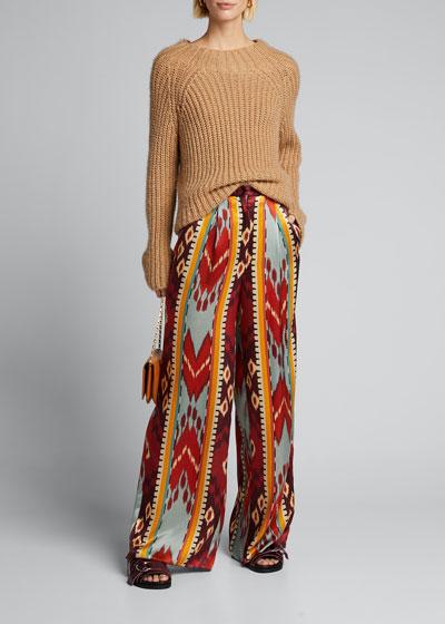 Encens Ikat-Print Silk Satin Wide-Leg Pants