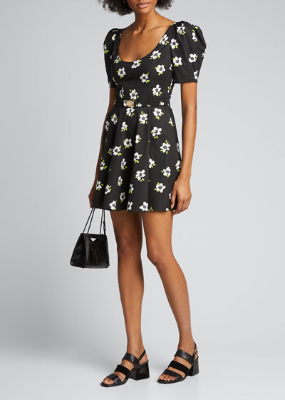 Nia Belted Floral-Print Short-Sleeve Dress