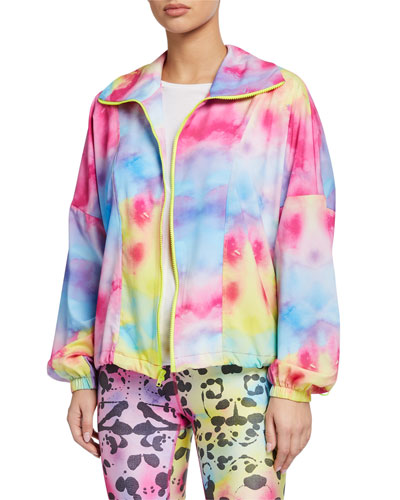 Allover Printed Zip Front Wind Jacket