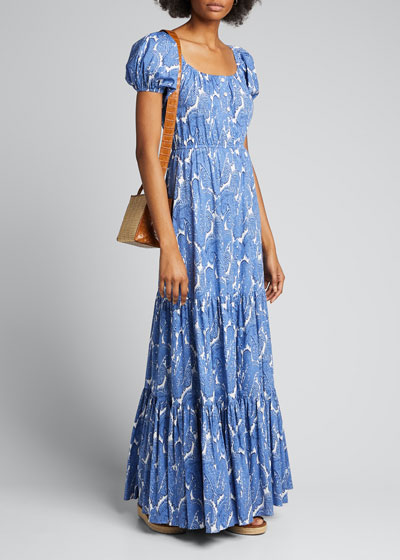 Bardot Paisley-Print Short-Sleeve Maxi Dress