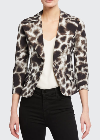 Kimimela Animal Print Cropped Jacket