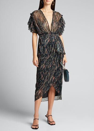 Gargas Flutter-Sleeve Printed Dress