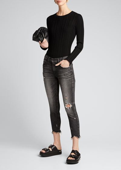 Glendele Distressed Cropped Skinny Jeans