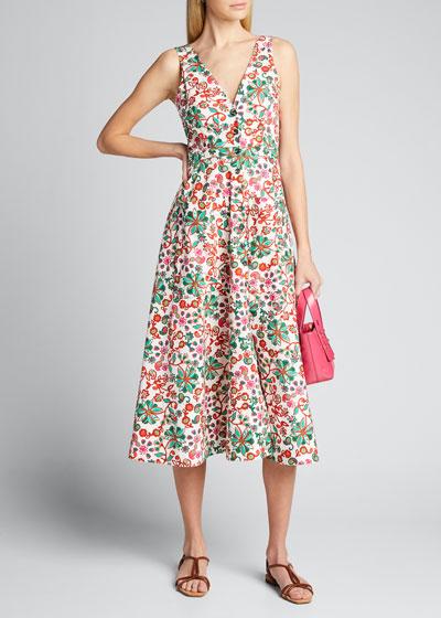 Zoey Floral-Print Button-Front Midi Dress