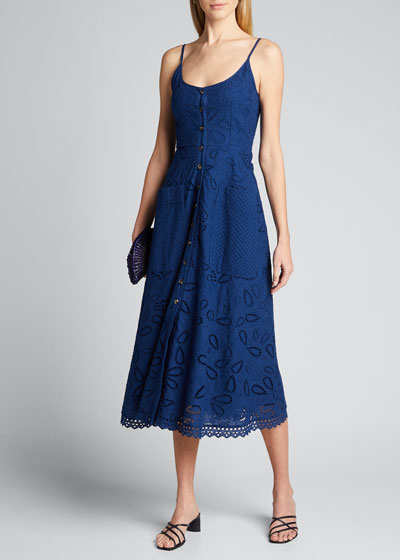 Fara Cotton Eyelet Midi Dress