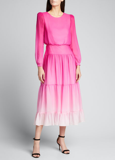 Image 1 of 1: Isabel Silk Tiered Long-Sleeve Dress