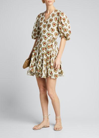 Rosie Heart-Print Wrap Dress