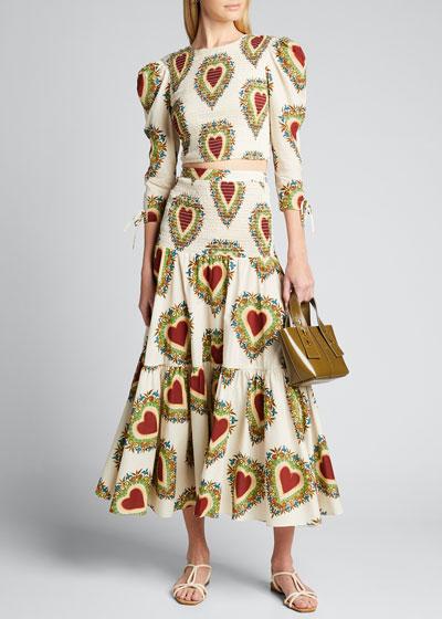 Jana Smocked Heart-Print Skirt