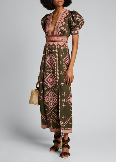 Amaria Embroidered Short-Sleeve Long Dress