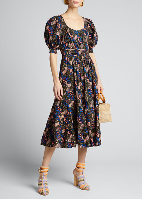 Juniper Puff-Sleeve Printed Midi Dress