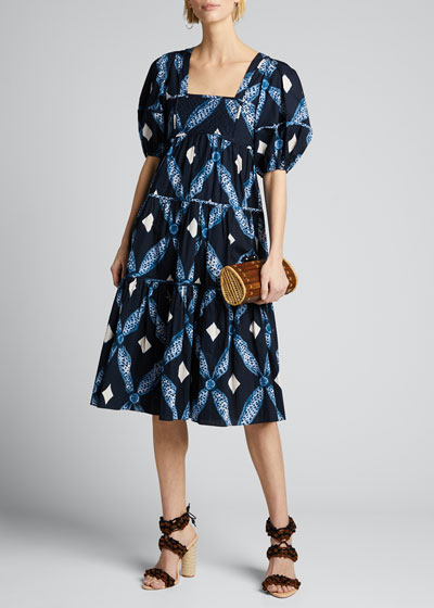 Nora Printed Square-Neck Puff-Sleeve Dress