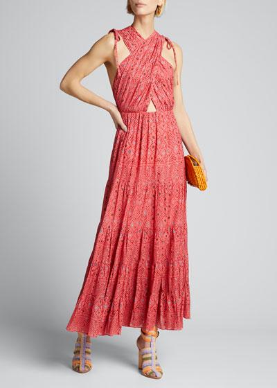 Karima Diamond-Print A-Line Dress