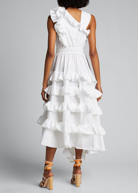 Imogen Asymmetric Sleeveless Ruffle Dress