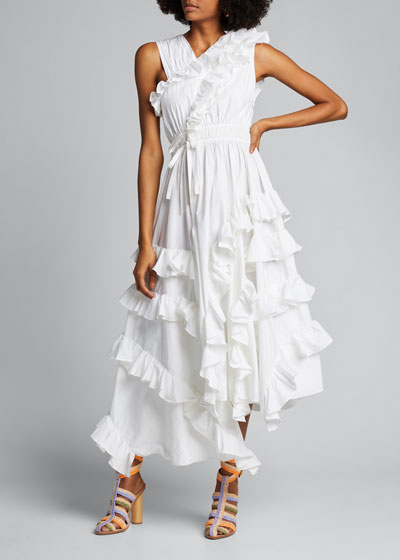 Imogen Asymmetric Sleeveless Ruffle Dress