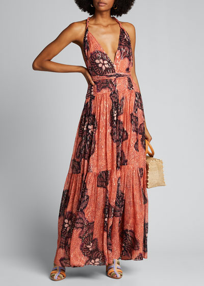 Kemala Printed Open-Back Maxi Dress