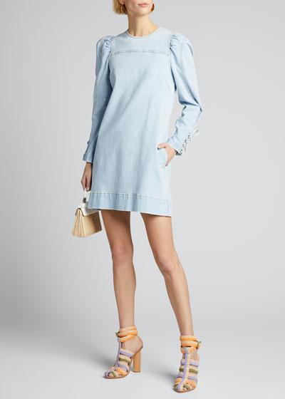 Manon Long-Sleeve Denim Shift Dress