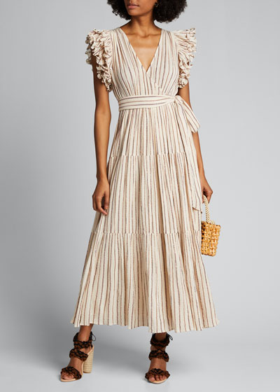 Lilliana Striped Ruffle-Sleeve Wrap Dress