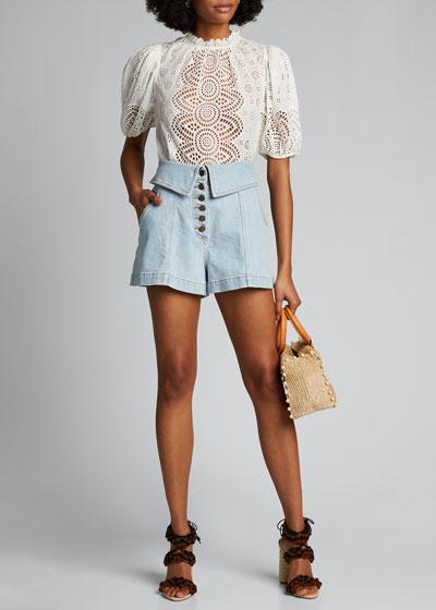Kase Button-Front Foldover Shorts