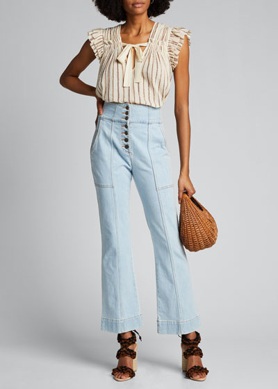 Ellis Printed Wide-Leg Jeans w/ Button Fly