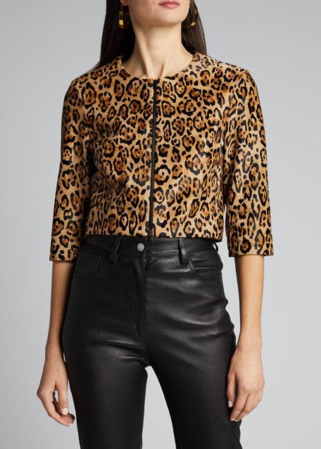 Bengal Leopard Calf Hair Bolero Jacket
