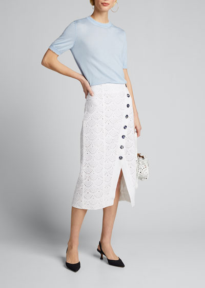Azalea Button-Front Eyelet Skirt