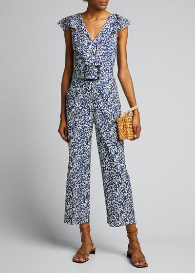 Avalon Floral-Print Belted Jumpsuit