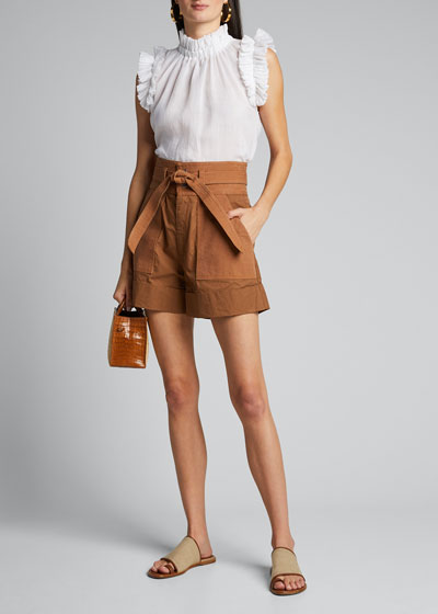 Gabriette Combo Tie-Waist Shorts