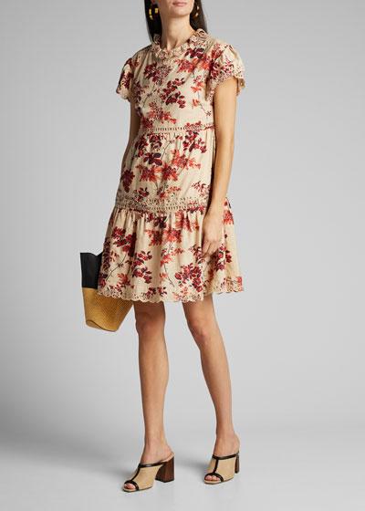 Thea Short-Sleeve Tiered Dress